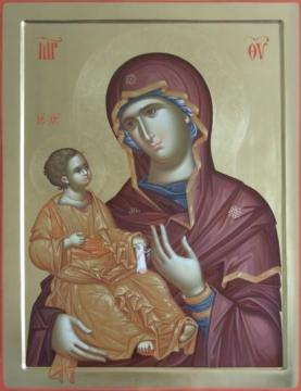 Icon of Theotokos and Christ Hodegetria by hand of Monah Ilie Ianu